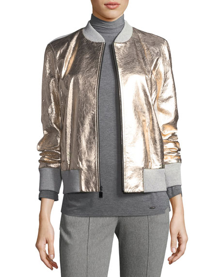 St. John Collection Metallic Napa Leather Bomber Jacket,