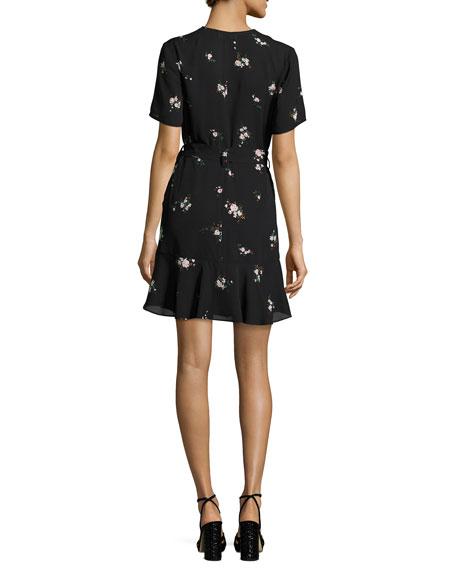 Micah Floral-Print Silk Dress, Black Pattern