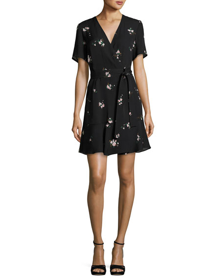 A.L.C. Micah Floral-Print Silk Dress, Black Pattern