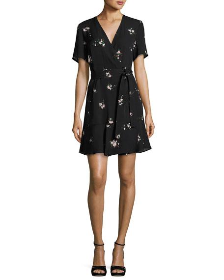 A.L.C. Micah Floral-Print Silk Dress, Black Pattern | Neiman Marcus