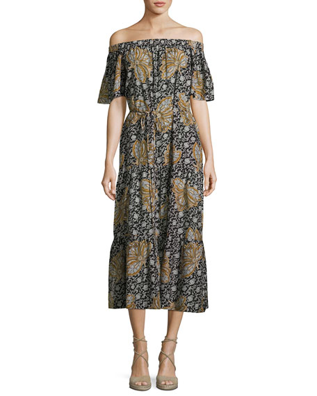 A.L.C. Doris Off-the-Shoulder Printed Midi Dress, Multi