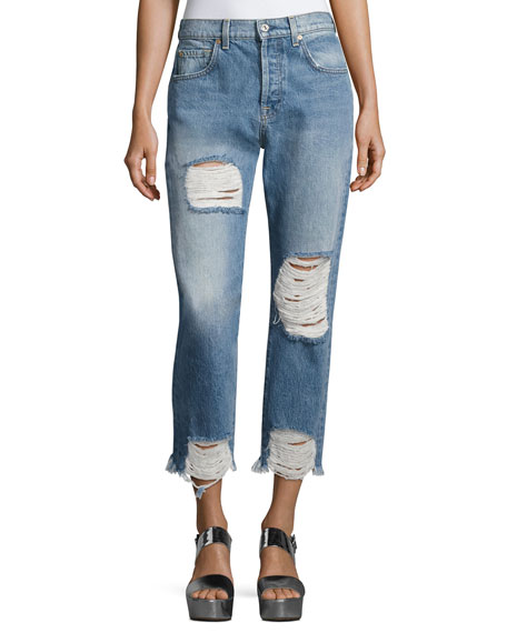 Josefina High-Waist Destroyed Jeans, Blue