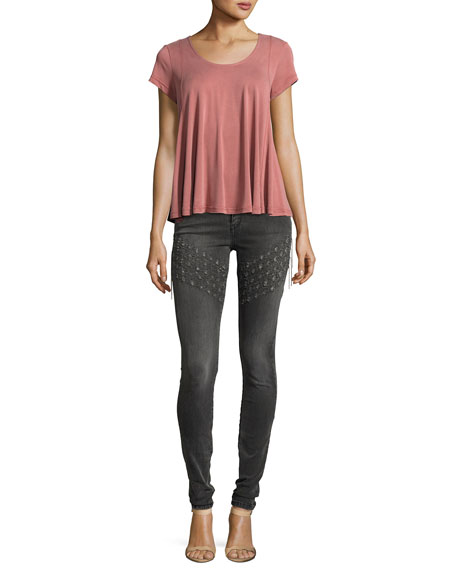 Plaza Emma Chain Embroidered Skinny Denim Jeans, Gray