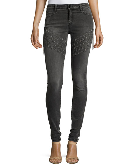 Brockenbow Plaza Emma Chain Embroidered Skinny Denim Jeans,