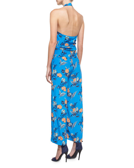Halter-Neck Wrap-Front Jumpsuit, Blue Pattern