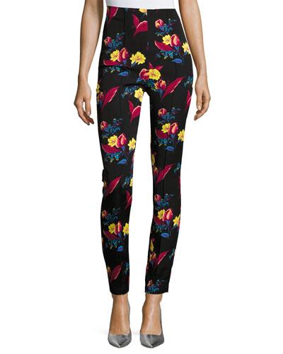 High-Waisted Skinny Pants, Black Floral