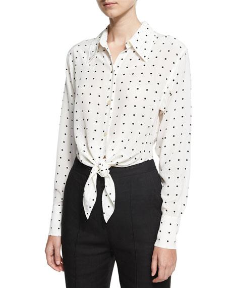 Diane von Furstenberg Long-Sleeve Dotted Front-Tie Shirt, White