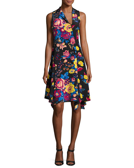 Sleeveless Bias-Cut Floral-Print Silk Dress, Black Pattern