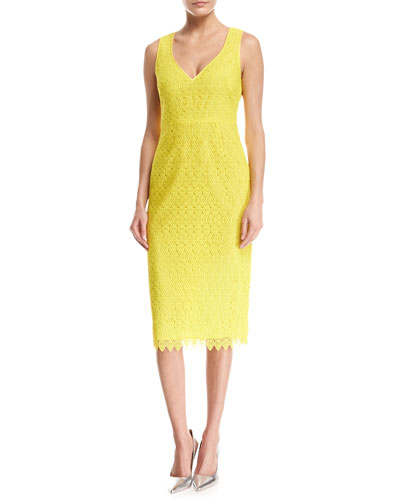 Diane von Furstenberg Sleeveless V-Neck Tailored Midi Dress, Yellow
