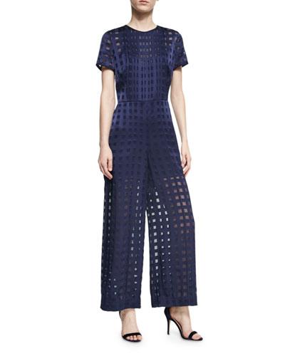 Short-Sleeve Flared Jumpsuit, Blue