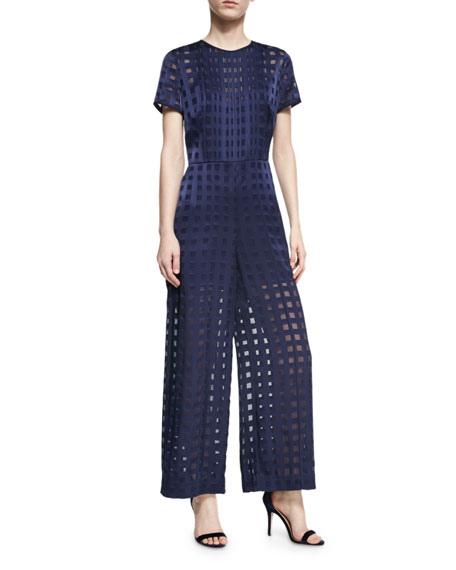 Diane von Furstenberg Short-Sleeve Flared Jumpsuit, Blue