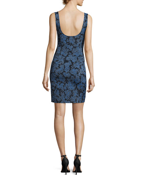 Sleeveless Tailored Side-Slit Silk Dress, Blue