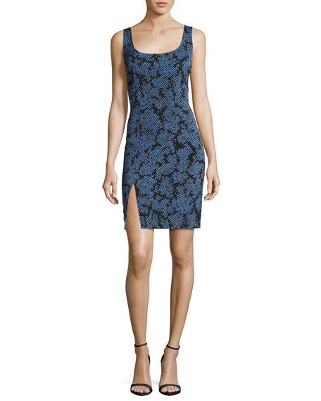 Diane von Furstenberg Sleeveless Tailored Side-Slit Silk Dress,