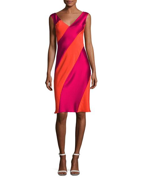 Diane von Furstenberg Cap-Sleeve Bias-Paneled Dress, Red
