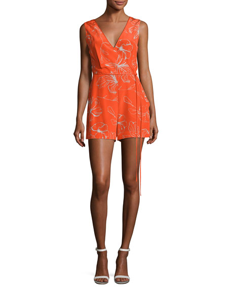 Sleeveless Side-Tie Silk Romper, Red