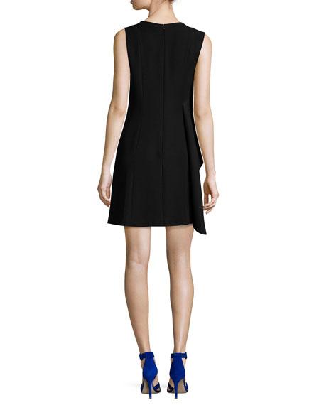 Ruffle-Front Sleeveless Crepe Mini Dress, Black