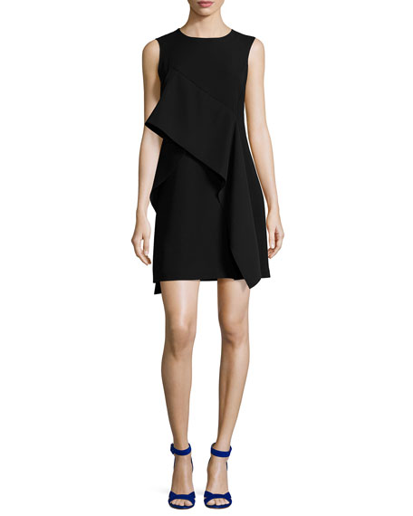 Diane von Furstenberg Ruffle-Front Sleeveless Crepe Mini Dress,