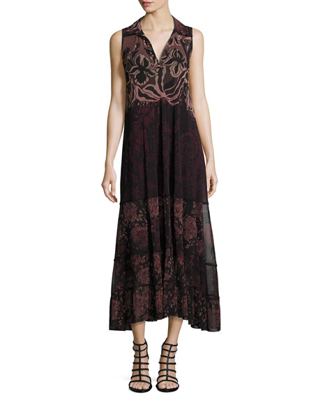Fuzzi Collared V-Neck Floral Lace-Print Midi Dress, Black