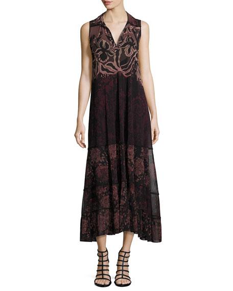 Fuzzi Collared V-Neck Floral Lace-Print Midi Dress, Black