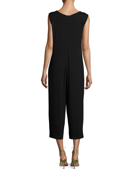 Lightweight Cropped Jersey Jumpsuit, Black