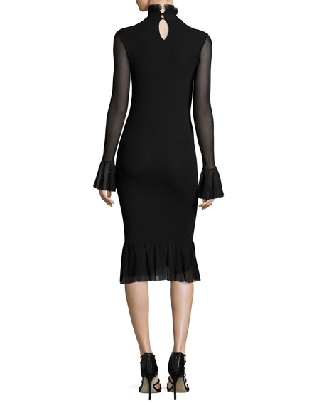 Fuzzi Long Sleeve Turtleneck Fit Amp Flare Dress Black