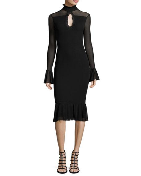 Fuzzi Long-Sleeve Turtleneck Fit-&-Flare Dress, Black