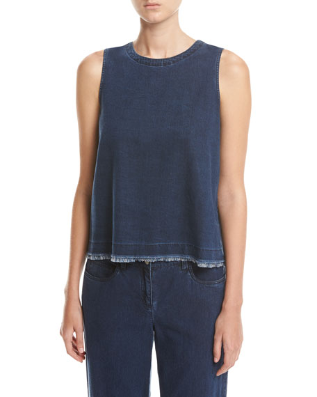 Eileen Fisher Sleeveless Tencel?? Denim Shell, Midnight