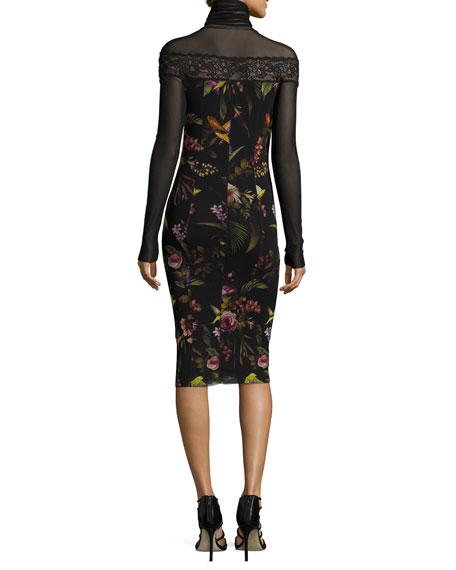 Long-Sleeve Mesh-Yoke Floral-Print Sheath Dress, Black Multi