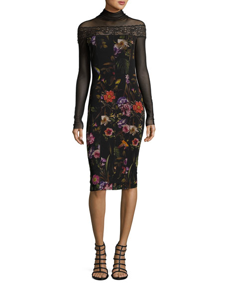 Fuzzi Long-Sleeve Mesh-Yoke Floral-Print Sheath Dress, Black