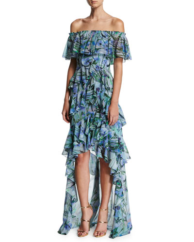 Off-the-Shoulder Tiered Floral Chiffon High-Low Gown, Blue/Multicolor