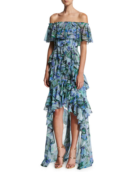 Badgley Mischka Off-the-Shoulder Tiered Floral Chiffon High-Low