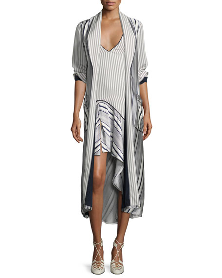 Jonathan Simkhai Multimedia Linear-Printed Long Cardigan, Blue