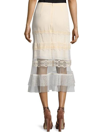 Threaded Tulle Lace Ruffle Midi Skirt