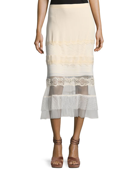 Jonathan Simkhai Threaded Tulle Lace Ruffle Midi Skirt