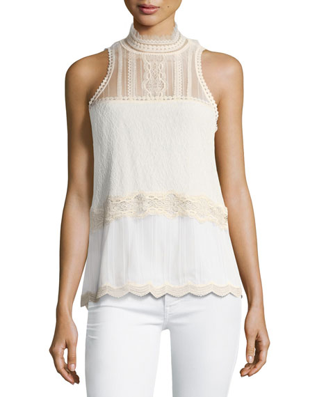 Jonathan Simkhai Threaded Tulle Lace Sleeveless Top