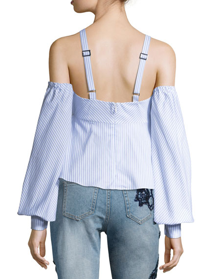 Pinstripe Off-the-Shoulder Blouson-Sleeve Bustier Top