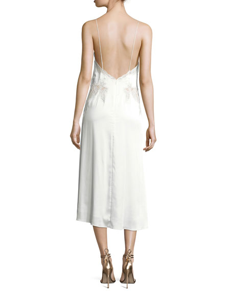 Stretch-Lace Satin Slip Dress