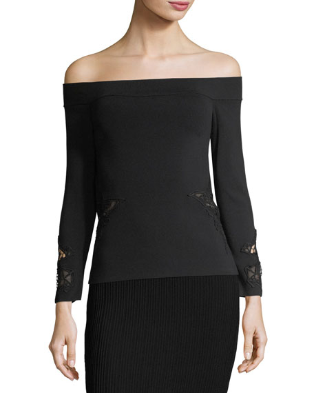 Signature Knit Off-the-Shoulder Top w/ Applique