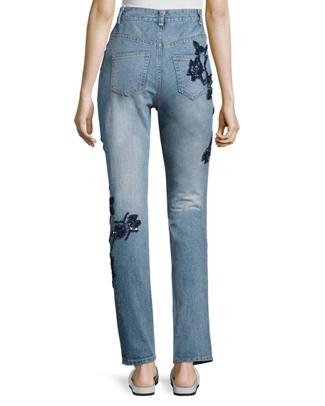 Embroidered High-Rise Stove Pipe Jeans, Blue