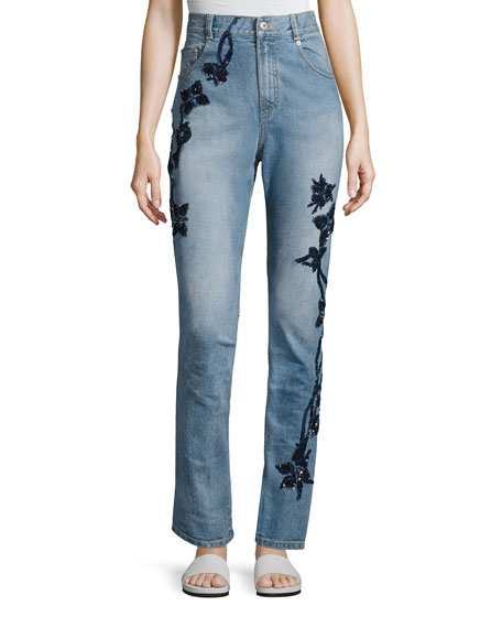 Jonathan Simkhai Embroidered High-Rise Stove Pipe Jeans, Blue