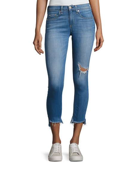 rag & bone/JEAN Capri Distressed Denim Jeans, Indigo