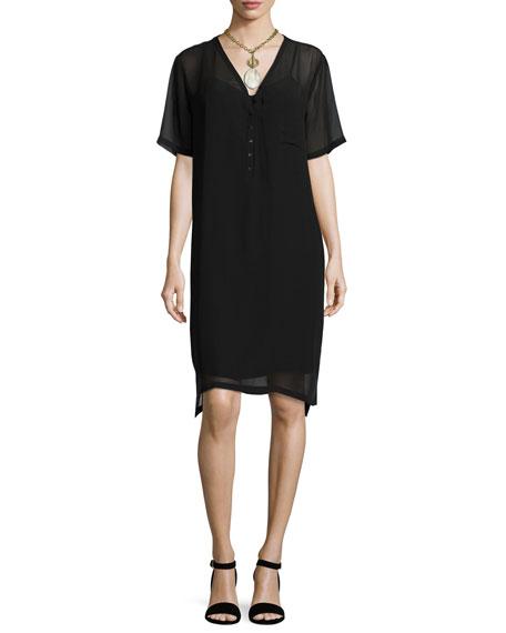 Silk Georgette V-Neck Shift Dress, Black