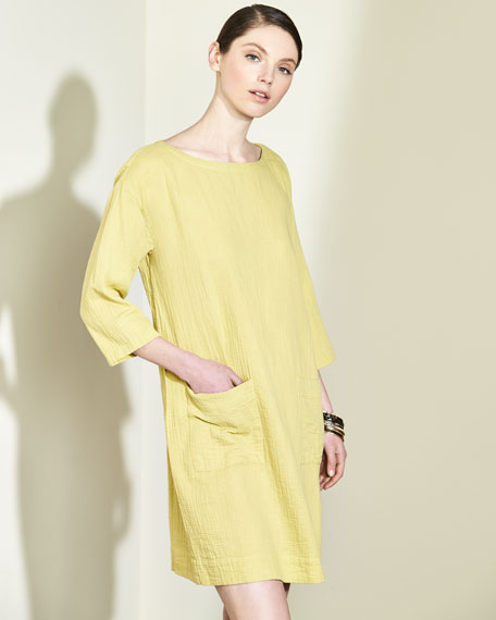 Organic Cotton Gauze Pocket Dress, Petite
