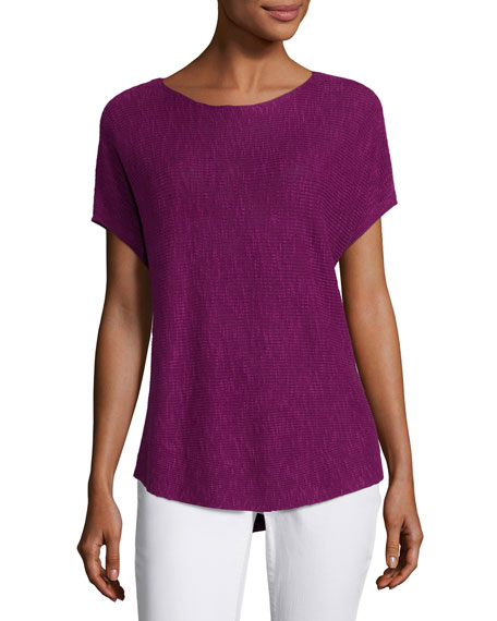Eileen Fisher Short-Sleeve Boat-Neck Linen/Cotton Box Top, Petite