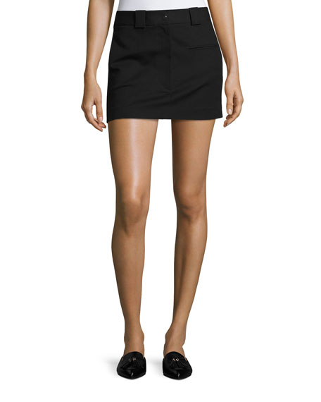 Helmut Lang Cotton-Stretch Mini Skirt, Black