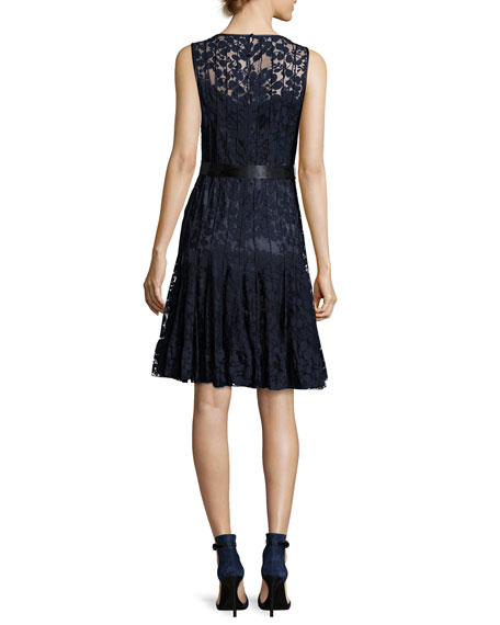 Lace Overlay Cocktail Dress, Navy