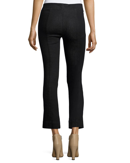 Pull-On Crop Flare Denim Pants, Black