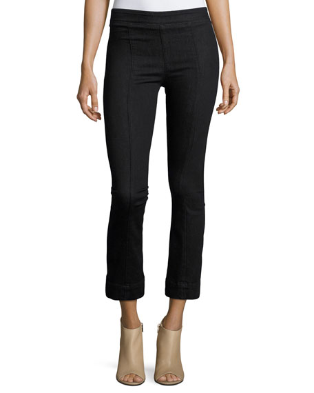 Helmut Lang Pull-On Crop Flare Denim Pants, Black