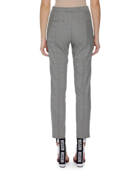 Plaid Gingham Print Trousers, Black Pattern
