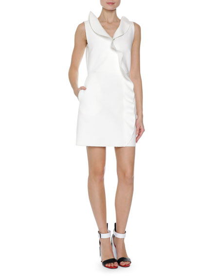 MSGM Ruffle Front Sleeveless Sheath Dress, White